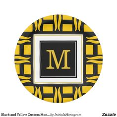 Black and Yellow Custom Monogram Paper Plate