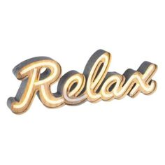 "Neon Led ""Relax"" Sign (€38) ❤ liked on Polyvore featuring home, lighting, signs, battery powered lamps, battery operated night light, neon light, battery powered light and battery light"