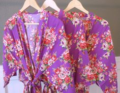 Purple Floral Kimono Bridal Party Robes Available in 8 Different Colors! Starting at just $16. https://www.ellawinston.com/collections/robes #bridesmaidrobe #gettingreadyrobe