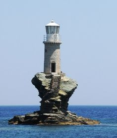 The lighthouse Tourlitis of Andros Island (Greece) was bulit in 1897 and was bombarded during the World War II – it was restored in 1994. The first time that Andros island was to be emprinted on a Greek stamp was with a portrait of this offshore lighthouse.