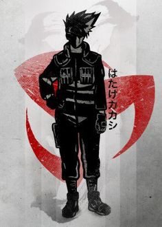 naruto shippuden anime manga japan japanese kakashi jacket jonin mongekyo sharigan uchiha kohana ink inking strong team seven 7 red crimson fanfreak fan art cool vintage china sasuke sakura hatake