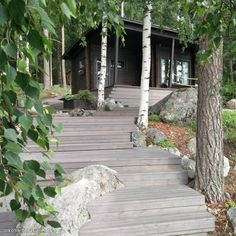 Scandinavian Cottage, Outdoor Sauna, Summer Cabins, Lakeside Cottage, Cottage Renovation, Old Farm Houses, Dream Garden, Garden Paths, House Colors