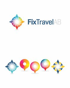 Fix Travel, corporate and business travel agency, Sweden, Denmark, Norway, map, tourism, marker, pointer, icon, symbol, logo design by Alex Tass