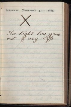 "Theodore Roosevelt wrote this diary entry February 14th, 1884, when his wife died. it reads ""the light has gone out my life"" So sad and so very tragic. Touches my heart like no other"