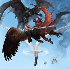 Sky Battle, #Fantasy, #Paintings & #Airbrushing