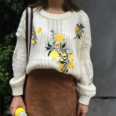 60fc8af668c Embroidered Flower Knitted Sweater
