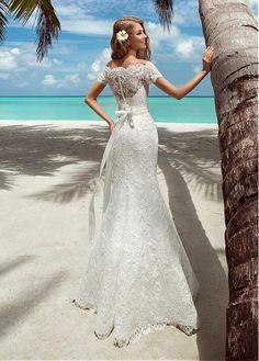 Buy discount Elegant Lace Off-the-shoulder Neckline 2 in 1 Wedding Dresses at Magbridal.com