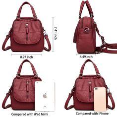 ELIMPAUL Women Backpack, Soft PU Leather Backpack+ Handbag + Shoulder Bag  All in One Multifunction 54c3204e10