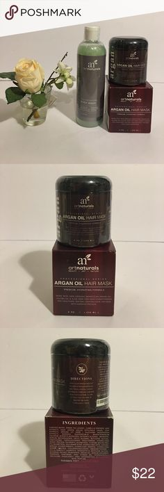 NEW ARGAN OIL HAIR MASK & PURE NATURAL BODY WASH New Argan oil hair mask premium hydrating formula / 100 % organic moroccan argan oil jojoba oil & aloe vera 8 oz ( 236 ML ) & Pure natural body wash 12fl oz ( 354.8 ML ) see all photos! Thank you! Price firm! I already lowered! argan oil artnaturals Other