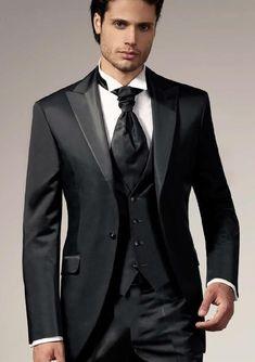 New Arrival One Button Black Groom Tuxedos Groomsmen Mens Wedding Suits Prom Dress (Jacket+Pants+Vest+Tie) NO:178