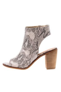 """Snake skin suede-like fabric bootie with peep toe, cut out back, and a wooden stacked heel. Zipper on inside of foot for easy slip-on.    Approx. Measures:3.50"""" high.   Peep Toe Bootie by Very Volatile. Shoes - Booties - Heeled Utah"""
