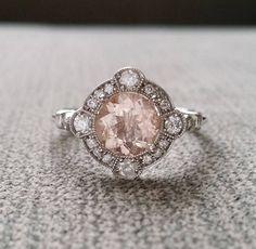 Estate Halo Moraganite Diamond Antique Engagement Ring