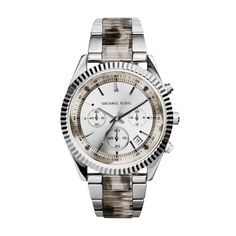 A perfect combination of sporty and sophisticated, this handsome watch has the ability to pair perfectly with any style. The silver-tone sunray dial adds a subtle shine while the stainless steel silhouette gives it a masculine tone. Tortoise Shell, Michael Kors Watch, Chronograph, Omega Watch, Rolex Watches, Bracelets, Silver, Accessories, Things To Sell