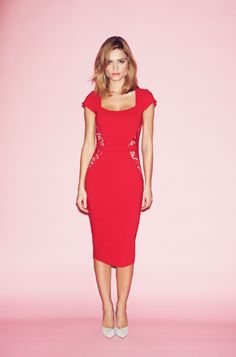 the pretty dress company red como dress, perfect for valentines day. Flattering fitted bodycon dress.
