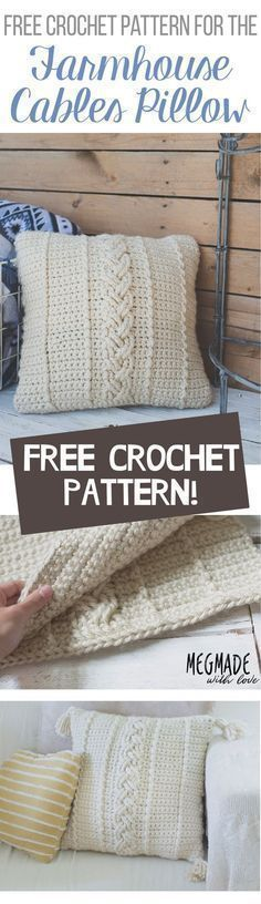 FREE Crochet Pattern for Farmhouse Pillow Cover with Cables — Megmade with Love pillow covers Another FREE Farmhouse Pattern: The Comfy Cables Pillow Cover — Megmade with Love Crochet Home Decor, Crochet Crafts, Crochet Projects, Crochet Ideas, Crochet Pillow Patterns Free, Free Crochet, Free Pattern, Afghan Patterns, Square Patterns
