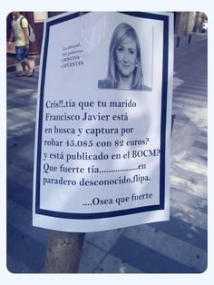 Cris, tía que tu marido Francisco Javier Aguilar Viyuela está en busca y captura por robar 45.085 con 82 euros...qué fuerte tía...en paradero desconocido, flipa. O sea qué fuerte. https://docs.google.com/file/d/0B_-sTw9GpZf1SkNDSHpLUWs3U1k/edit