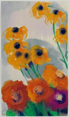 Emil Nolde - Poppies and Coneflower (Sonnenhut, Echinacea) 4a (by petrus.agricola)