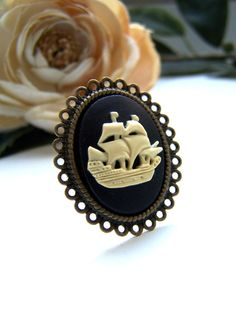 Ship Cameo Ring by barberryandlace on Etsy, $11.00