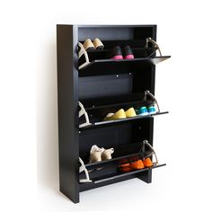 Keep your shoes organized and accessible with our Cargo Shoe Storage Cabinet. Flip out shelves keep your shoes organized while allowing you to close them and make your room look neat and tidy!