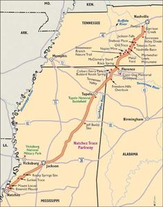 Jackson, MI to Natchez - Mississippi Scenic Drive: Natchez Trace Parkway