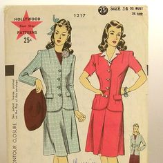 Vintage 40s Suit Pattern Hollywood 1217 Sz 14 Bust 32 by Revvie1, $16.00