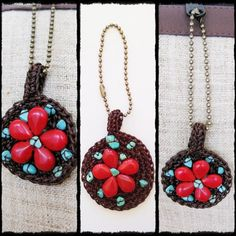 Keychain Bag Accessory red flower stone wax rope by Handmade | GoldenWorld - Accessories on ArtFire