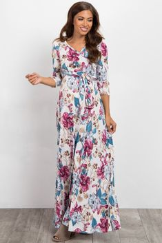 643bca1b550dc Violet Floral Sash Tie Maternity Nursing Maxi Dress