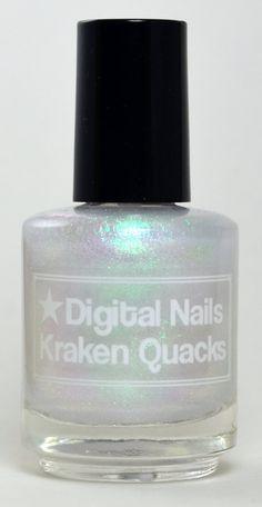 Kraken Quacks: Digital Nails green to silver to pink colorshift iridescent topcoat on Etsy, $11.43 CAD