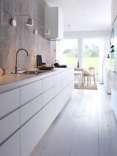 IKEA METOD NODSTA kitchen! Streamlined, handleinfused drawers. Perfect with an acrylic or stainless sink.