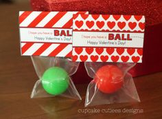 Cupcake Cutiees: Have a Ball Valentine- Digital Party Fold over Bag Toppers- Party Store