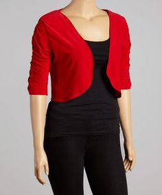 Look what I found on #zulily! Red Ruched Shrug - Plus by Star Vixen #zulilyfinds