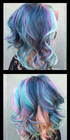 Blue mixed dyed hair color @xostylistxo