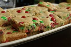 M&M Cookie Bars:) I Like That You Can Use Any Color M&M's To Match The Holiday's:)