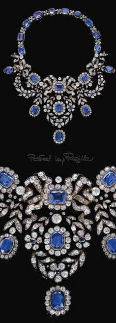 http://rubies.work/0223-ruby-rings/ 0318-sapphire-ring/ Regilla ⚜ Sapphire and diamond necklace, late 19th century