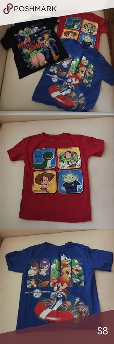 👕Lot of 3👕Boys Character Short Sleeve Shirts 👕Lot of 3👕Boys Character Short Sleeve Shirts including Disney Toy Story 3 and Super Mario Brothers.  Great condition.  Size XS (4/5) and 5T. Disney Shirts & Tops Tees - Short Sleeve
