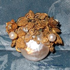Vintage Miriam Haskell Brooch - Signed Pearl Pin - TREASURY ITEM