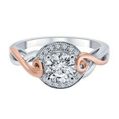 7/8 ct. tw. Diamond Engagement Ring in 14K White & Rose Gold