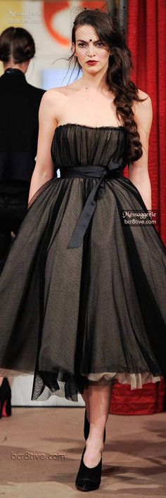 Messaggerie Fall 2014-15   black strapless a-line dress with bustle