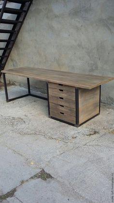 Купить Стол письменный с тумбой в стиле Лофт - стол, письменный стол, лофт, дерево, металл