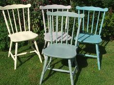 Delightful Four Painted Country Style Kitchen Chairs