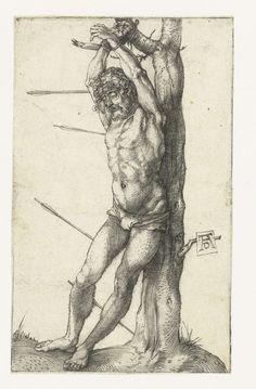 Albrecht Dürer | De Heilige Sebastiaan, Albrecht Dürer, 1499 - 1503 | De Heilige Sebastiaan, gebonden aan een boom, pijlen in zijn lichaam.