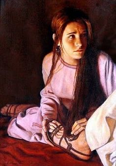 I just love pictures of Mary of Bethany anointing Christ's feet. She's one of my Biblical heroes. I have a theory that her act of sacrifice to the Lord in John 12:3 was originally recorded in Song of Solomon 1:12. If that's true, then Mary is a picture of the Lily in Songs, who represents the Church, the adoring Bride of Christ.