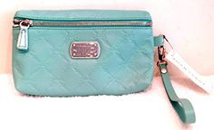 Longchamp Lm Cuir Lagoon Turquoise Blue Leather Wristlet Pouchette New