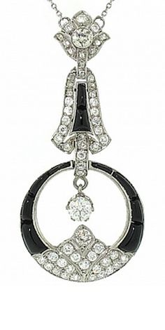 Art Deco Diamond and Onyx Pendant in Platinum,