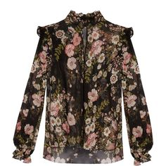 Giambattista Valli Floral-print ruffled silk-georgette blouse (7.455 DKK) ❤ liked on Polyvore featuring tops, blouses, black multi, floral tops, floral blouse, flower print blouse, ruffle top and high neck top