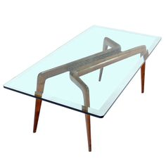 """Walnut Base 3/4"""" Glass Top Coffee Mid Century Italian Modern Table Gio Ponti 