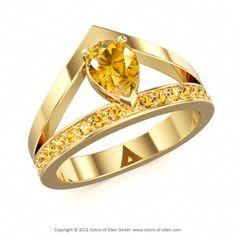 TIAVA   Designer Ring with Swarovski Brilliance Cubic Zirconia Golden Yellow and Citrine in 14k Yellow Gold