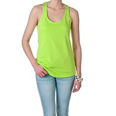 Next Level Apparel Womens Terry Racerback Tank Neon Green Size Large -- Visit the image link more details.