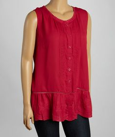 Another great find on #zulily! Fuchsia Pin Tuck Embroidered Button-Up Tunic - Plus #zulilyfinds