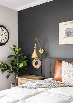 A master bedroom gets a high contrast dark and moody makeover with Sherwin-Williams Iron Ore Home Inspiration Modern Bedroom Design, Contemporary Bedroom, Bedroom Designs, Modern Bedroom Lighting, Bedroom Wall Colors, Bedroom Decor, Bedroom Furniture, Bedroom Ideas, Master Bedroom Color Ideas